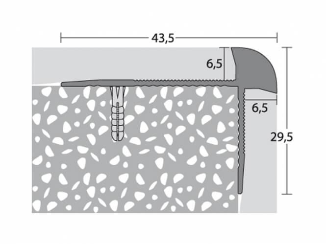 Treppenkantenprofil 43,5 x 29 mm - Nr.189