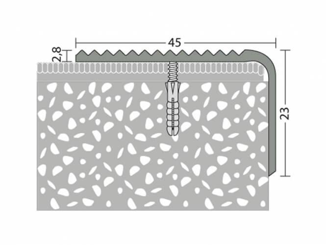 Treppenkantenprofil Messing 45 x 23 mm - Nr.182