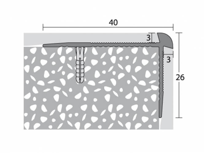 Treppenkantenprofil 40 x 26 mm - Nr. 187