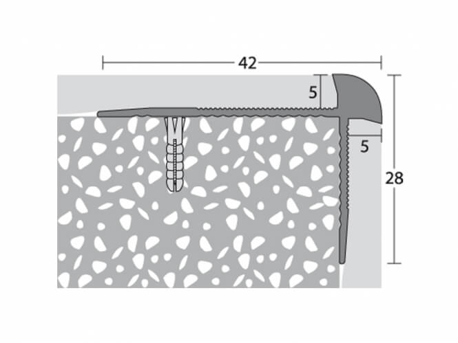 Treppenkantenprofil 42 x 28 mm - Nr.188