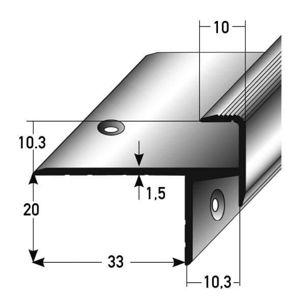 schienenkante aluminium nr 259 au 259tkp treppenrenovierung treppensanierung. Black Bedroom Furniture Sets. Home Design Ideas