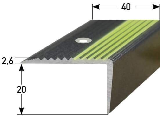 Treppenstufenprofil Nr. 091 (Aluminium, nachleuchtend)